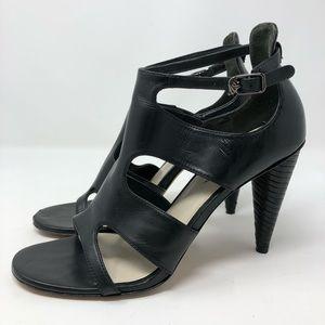 Via Spiga Black Leather Caged Sandals